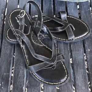 🍬BOC Black Leather Sandals